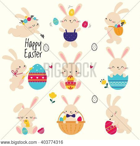 Cute Little Bunnies Set, Adorable Pink Easter Rabbits With Colorful Eggs, Easter Egg Hunt Card, Post