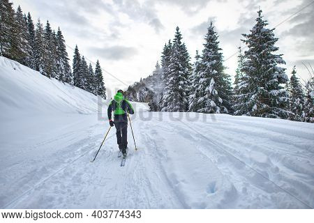 Excursion With Mountaineering Skis. A Man Alone In The Lane In T