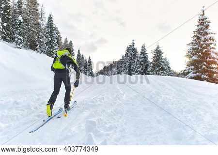 Man Uphill On Skis With Skins Underneath