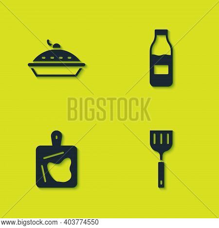 Set Homemade Pie, Spatula, Cutting Board And Bottle With Milk Icon. Vector