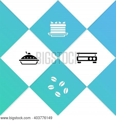 Set Homemade Pie, Coffee Beans, Cake And Electronic Scales Icon. Vector