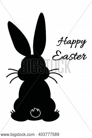 Easter Greeting Card Design With Black Bunny Sitting, Rabbit Back Silhouette With Black Inscription