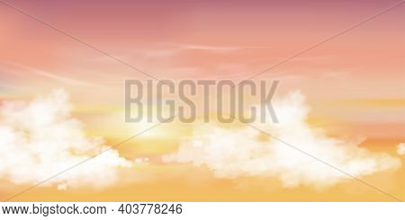 Sunrise In Morning With Orange,yellow And Pink Sky, Dramatic Twilight Landscape With Sunset In Eveni