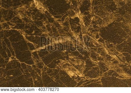 Texture Of Bronze And Golden Marble For Tabletop With Light Lines Of Pattern, Macro Background. Brow