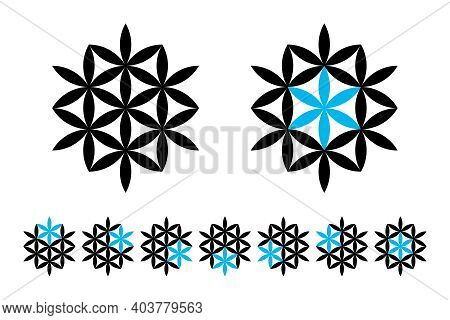 Seven Stars, Geometrical And Optical Illusion. Six Flower-like Stars, Made From Vesica Piscis Lens S