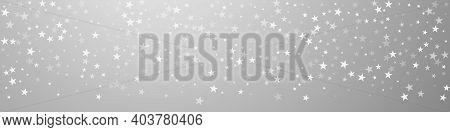 Random Falling Stars Christmas Background. Subtle Flying Snow Flakes And Stars On Grey Background. B