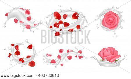 Cream Splashes. Realistic Roses, Petals And White Liquids, Care Cosmetics Vector Illustration. Beaut