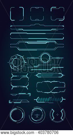 Hud Ui Elements. Sci Fi Infographic Modern Space Symbols For Web Design Interface Futuristic Digital