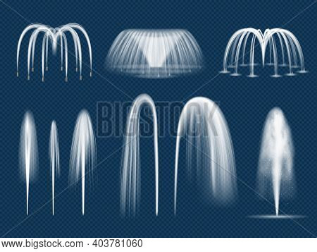 Fountain Jet. Realistic Decorative Water Outdoor Splashes Isolated Vector Templates. Fountain Outdoo