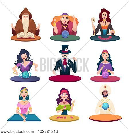 Fortune Tellers With Magic Balls. Gypsy Crystal Balls And Cards Fairytale Characters Exact Vector Ca