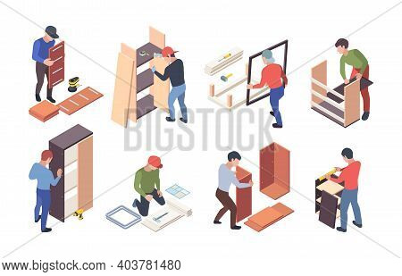 Furniture Production. Upholstered Instruments For Wooden Furniture Crafting Workers Assembly Shelves