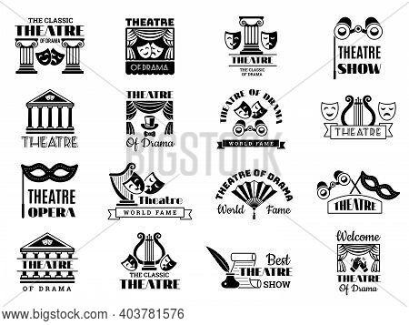 Theatre Badges. Broadway Emblem Entertainment Show Party Vintage Logo Cinema Symbols Recent Vector I