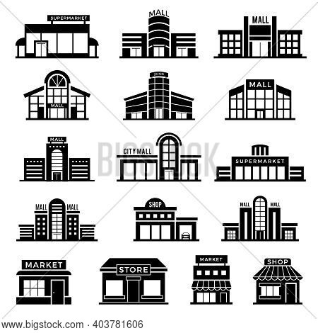 Supermarket Facade. Retail Shop Exterior Commercial Mall Buildings Recent Vector Icons Collection Of