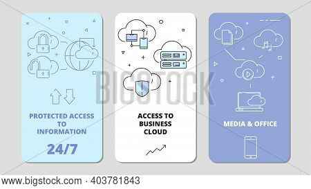 Cloud Technology App. Online Software Computer Internet Services Safety Connection, Data Service Vec