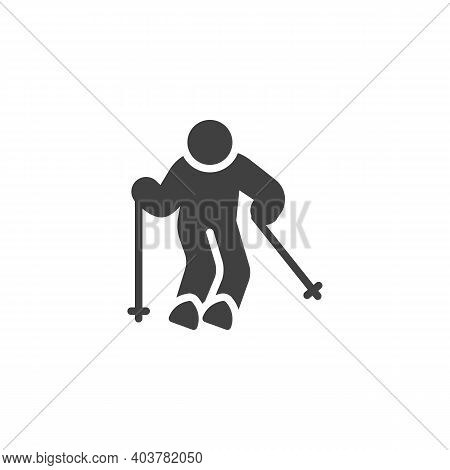 Skier Skiing Vector Icon. Filled Flat Sign For Mobile Concept And Web Design. Skiing Sport Glyph Ico