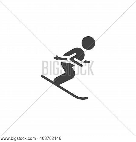 Skier Skiing Downhill Vector Icon. Filled Flat Sign For Mobile Concept And Web Design. Skiing Winter