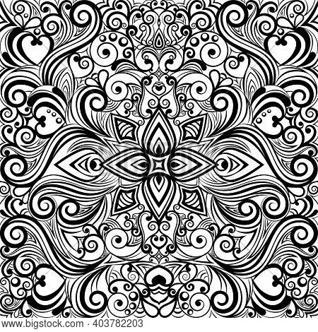 Floral Abstract Ornament, Black And White Pattern, Monochrome Ethnic Tracery, Hand Drawing, Coloring