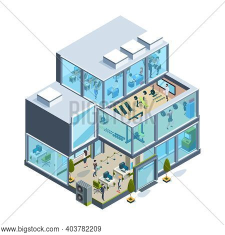 Business Building Isometric. Glass Facade Offices Inside Modern Architecture Elevators Garish Vector