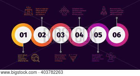 Business Time Line. Workflow Infographic Roadmap Elements Garish Vector Template. Line Roadmap, Pres