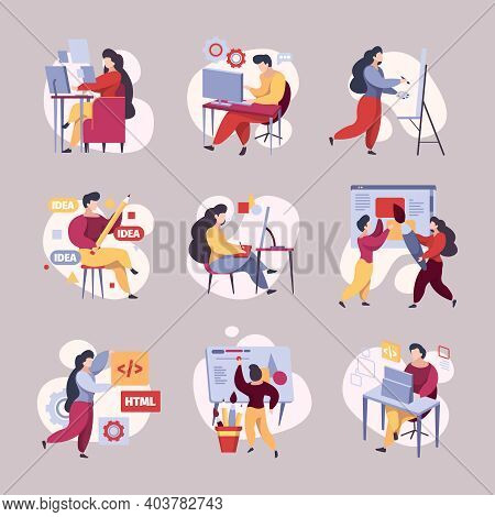 People Coding. Busy Web Developers Hackers Programmers Working Garish Vector Illustrations. Developm