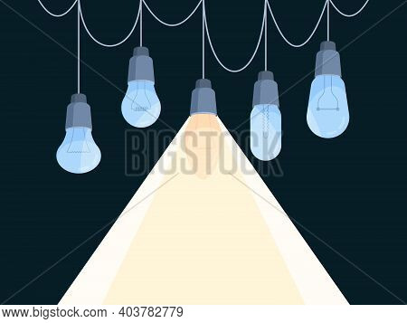 Background With Bulbs. Glowing Hanging Light Bulbs Garish Vector Conceptual Pictures Idea Visualisat