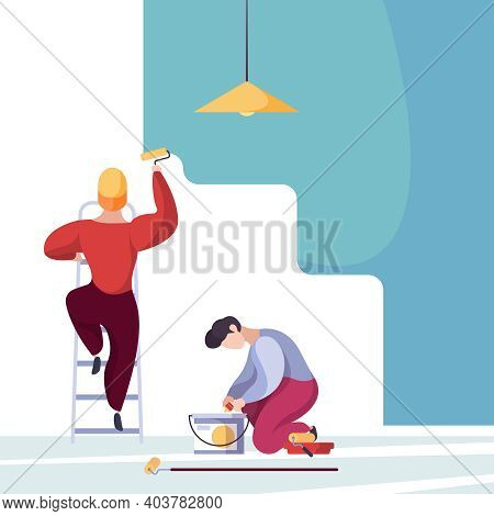 Painting Wall. Service Handyman Workers Home Repair Builders Garish Vector Background. Repair And Pa