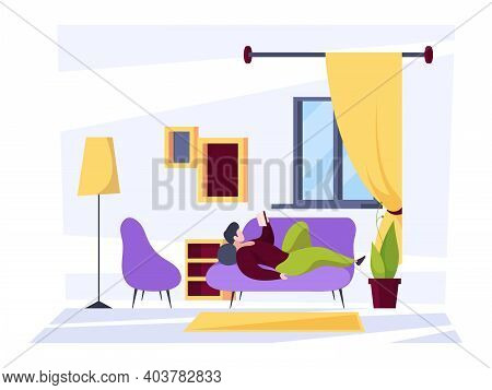 People Reading In Room. Characters Relaxing And Reading In Home Interior Daily Activities Garish Vec