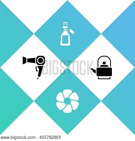 Set Hair Dryer, Flower, Essential Oil Bottle And Kettle With Handle Icon. Vector