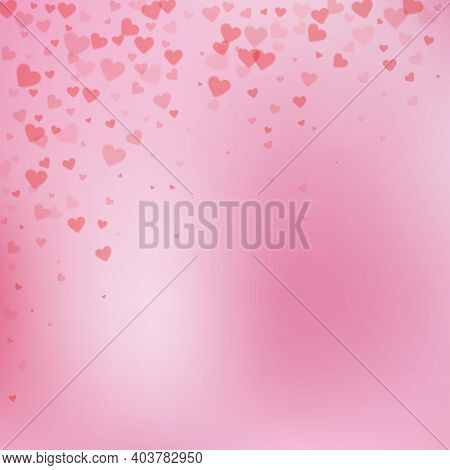 Red Heart Love Confettis. Valentines Day Falling Rain Classic Background. Falling Transparent Hearts