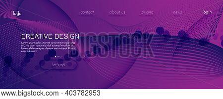Fluid Background. 3d Flow Shapes Movement. Curve Futuristic Banner. Vivid Creative Template. Violet