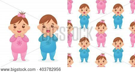Two Cute Twin Babies, A Baby Girl And A Baby Boy. Seamless Pattern With An Image Of A Baby Girl And