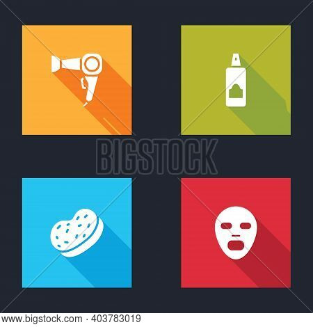 Set Hair Dryer, Spray Can For Hairspray, Bath Sponge And Facial Cosmetic Mask Icon. Vector
