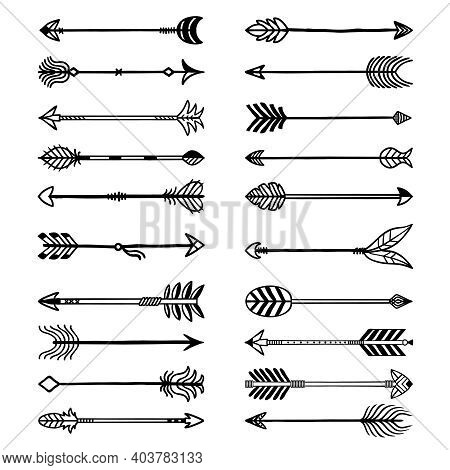 Boho Arrows. Bows Stylized Weapons In Ethno Style Arrows With Feathers Recent Vector Drawn Set For L