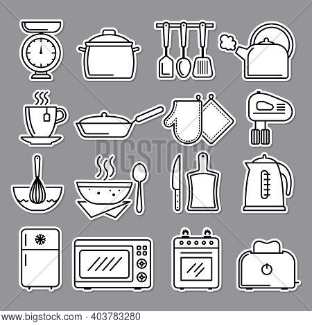 Kitchen Icon. Preparing Food Symbols Knife Cooking Stove Recent Vector Illustrations. Cooking And Pr