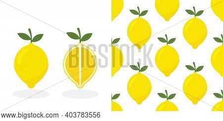 Fresh Lemon Fruits, Collection Of Vector Illustrations.tropical Pattern With Yellow Lemons. Fruit Re