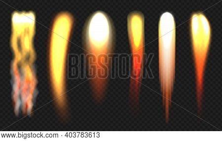 Rocket Flame. Jets Engine Fire Different Shapes Fireballs Decent Vector Realistic Illustrations. Fir