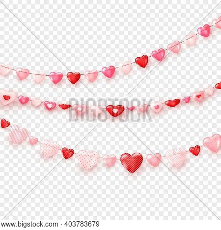 Garlands Of Hearts. Valentine's Day Or Wedding Day Decoration Elements. Vector Isolated On Transpare