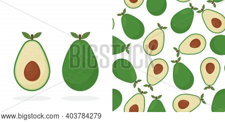 Realistic Avocados Illustration. Whole And Cut Avocado. Avocado Print Fabric And Organic Vegan Raw P