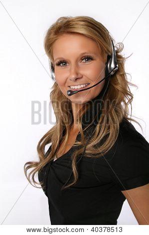 Pretty call center woman