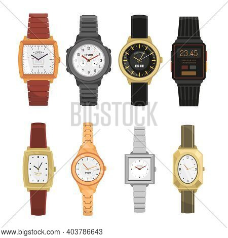 Man And Woman Mechanical And Electronic Wrist Watches Set In Classic And Modern Design With Straps A