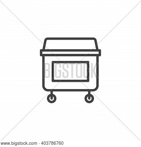 Wheel Bin Line Icon. Dumpster Can Linear Style Sign For Mobile Concept And Web Design. Garbage Conta