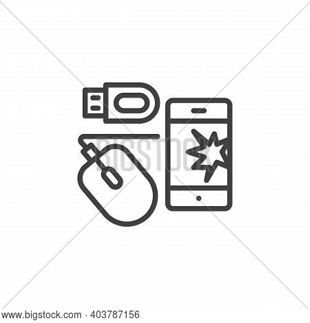 Electronic Waste Line Icon. Linear Style Sign For Mobile Concept And Web Design. E-waste Outline Vec