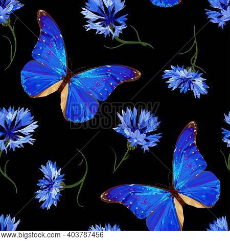 Cornflower And Butterfly. Floral Seamless Pattern With Neon Blue Butterfly And Cornflowers On A Blac