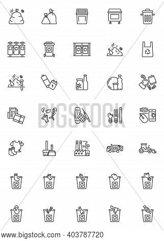 Zero Waste Line Icons Set. Waste Sorting Linear Style Symbols Collection, Outline Signs Pack. Vector