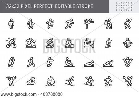 Sport People Flat Icons. Vector Illustration With Minimal Icon - Exercise, Yoga, Active Man, Treadmi