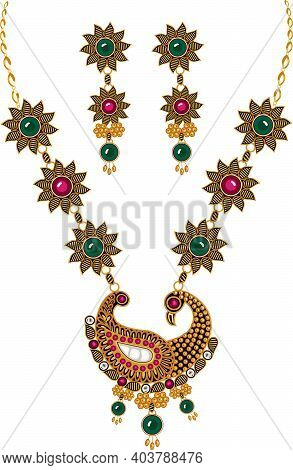 Designer Jewelry Necklace Set With Ear Rings