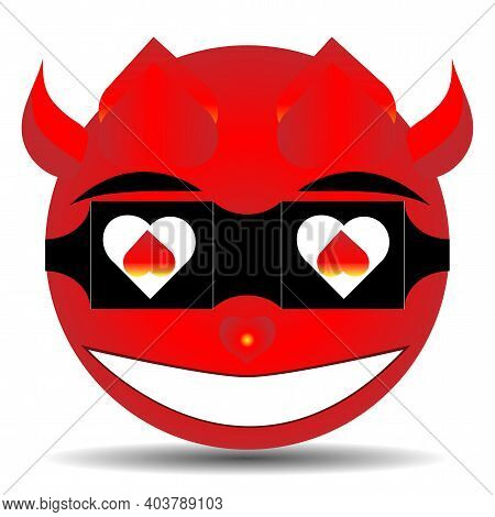 High Quality Emoticon With Horns, Devil Emoticons On A White Background. Red Devil Face Emoticons. P