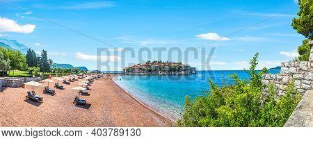 Beach Near The Famous Sveti Stefan In Montenegro