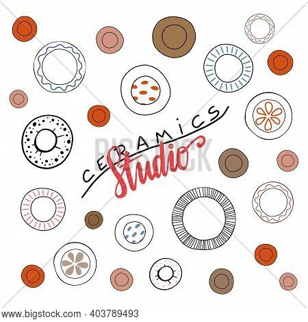 Nice Lettering Ceramics Studio With A Lot Of Handmade Plates. Simple Vector Logo Layouts For Art, Po