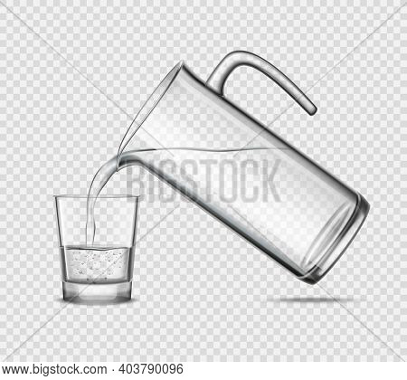 Pouring Water In Glass From Jug Design Concept On Transparent Background Grey Realistic Vector Illus